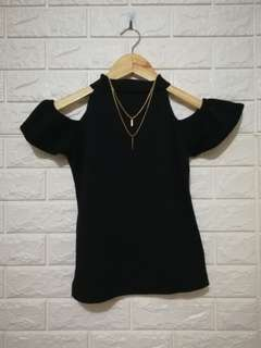 Plain black cold shoulders top casual or formal