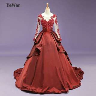 YeWen Vintage Burgundy Beads Celebrity Dresses Long Sleeves Taffeta V Neck Prom Dress 2018 Ball Gown Party