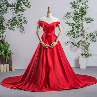 Sexy Backless Red A line Off Shoulder Long Evening Dresses 2018 Evening Vestido de Festa Longo Prom Dress Fashion Formal Gowns
