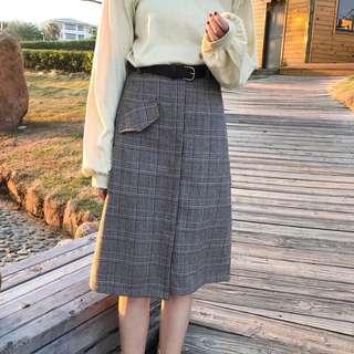 🚚 格紋顯瘦A字裙