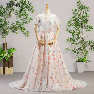 Butterfly Printed Evening Dresses Long 2018 O-Neck Prom Dresses Evening Gown for Women Vestidos de Fiesta Formal Party Dress