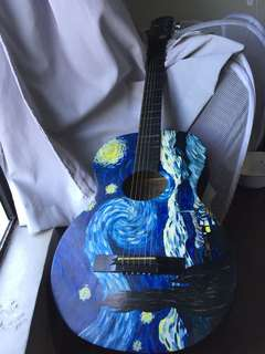 REPRICED!! Van Gogh Starry Night Custom Guitar
