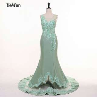 Robe De Soiree Mermaid Mint Green Long Evening Dress Party Elegant Vestido De Festa Long Prom Gown 2018 bridal dress