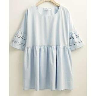 🚚 米妮刺繡寬袖洋裝