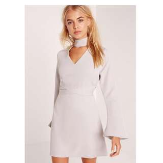 Missguided Grey Choker Dress with Cross Strap Detailing at the Waist