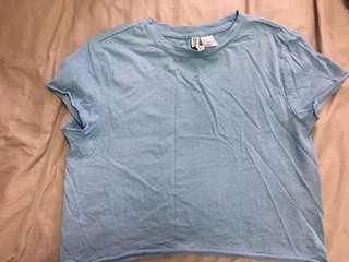 H&M pastel blue cropped shirt