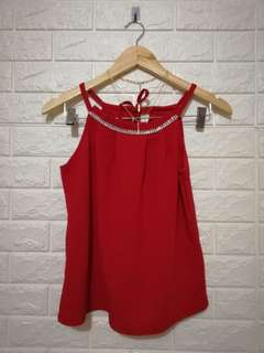 Red halter casual and formal plain top