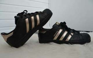 Size 5.5 - 6 | Authentic Adidas Superstar Black and Rosegold