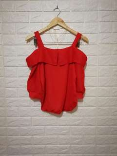 FREE SIZE Plain red cold shoulders