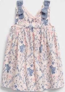 現貨 GAP 肩上蝴蝶結設計粉嫩碎花上衣洋裝
