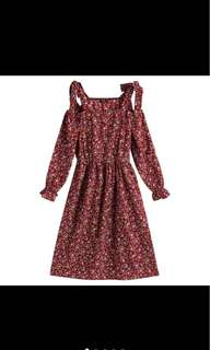 Open Shoulder Floral Dress