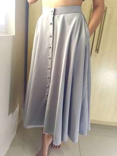 Custom Gray button up flowy skirt