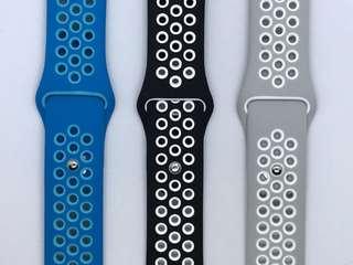 全新 42mm Apple Watch 錶帶 (黑, 灰, 藍 各一) 散賣 80蚊一條