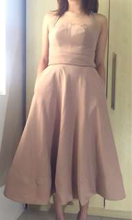 Long Backless Formal Dress in Nude
