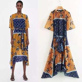 European Print Waist Dress