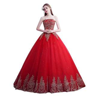 Instock Red and gold combination Ballgown