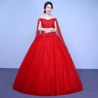 Instock Red Ball Gown with veil