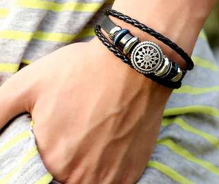 mens faux leather bracelet