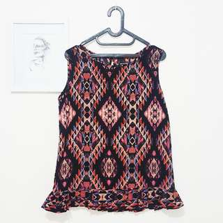 (PRELOVED) COLORBOX RUFFLE TRIBAL PATTERN NO SLEEVE TOP