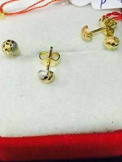18K Saudi  Tri color earring