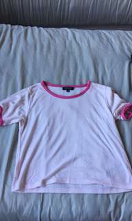 Topshop pink and white ringer crop size 10