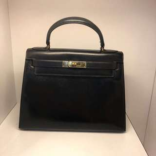 正品 90%新 Hermes Kelly 28 Vintage 黑色金扣外縫 罕!
