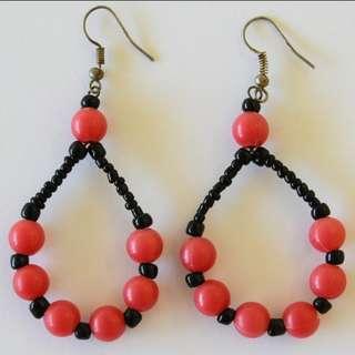 Afrix Red Loop Earrings