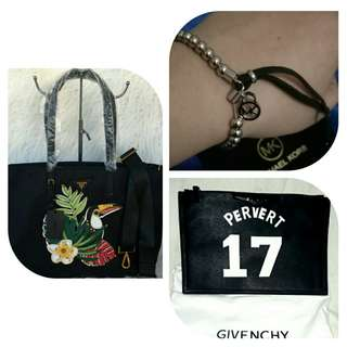 ALL FOR 3K! Authentic Michael Kors Beaded Bracelet, Highend Prada Bird Tote and Givenchy Clutch