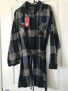large plaid button down dress with tag
