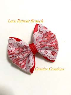 <Ready Stock > Lace Retreat Red Bow Brooch