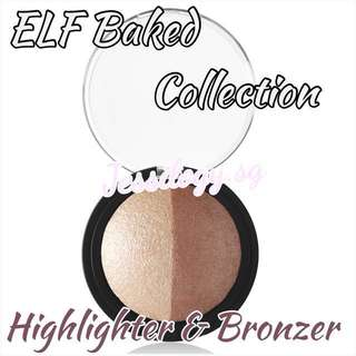 NEW INSTOCK ELF Studio Baked Highlighter & Bronzer in BRONZED GLOW / ELF Cosmetics / e.l.f. Cosmetics Baked Highlighter & Bronzer Collection