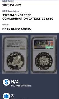 1979 Singapore communication satellites $10 silver coin