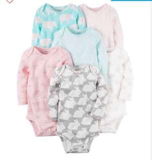 *6M* BN Carter's 6-Pack Long Sleeve Bodysuits For Baby Girl