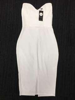 BNWT Strapless knee-length white dress