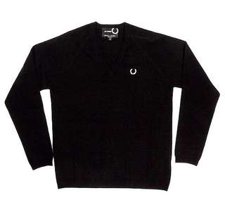 Authentic Fred Perry x Raf Simons Cardigan Black Vneck