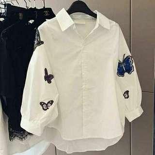 Ec BORDIER KUPU KUPU l atasan fashion baju putih kemeja putih blouse kupu kupu kemeja white wanita