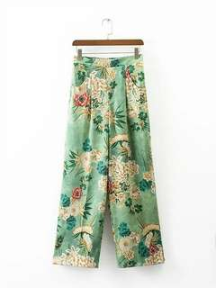 Green Floral Pajamas Trousers