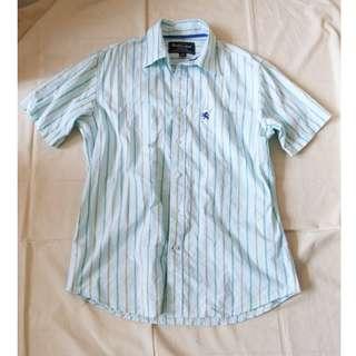男生品牌NET藍綠色直線條條紋襯衫美式休閒襯衫短袖襯衫短袖上衣