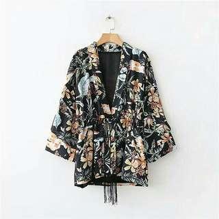 Black Floral Belted Kimono