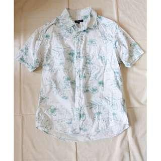 男生品牌NET藍綠色扶桑花印花圖案襯衫美式休閒襯衫短袖襯衫短袖上衣