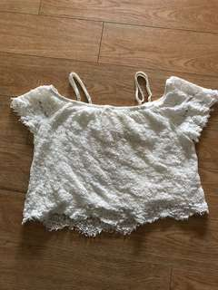 White lace off shoulder crop loose fitting festival top