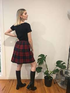 💀Vintage Tartan Pleated Skirt