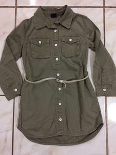 Army green dress for girl