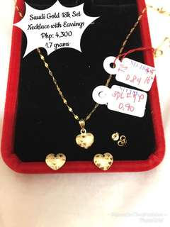 Saudi Gold 18k Necklace with Earrings