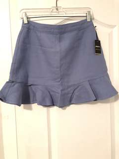 F21 - Blue Ruffle Trim Skirt (M)