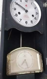 555 罕有 金色銅 共產黨 麥穗 裝飾 只得分針,欠匙 壞 鐘 外殼有破損見圖10 德國時鐘全金屬正常
