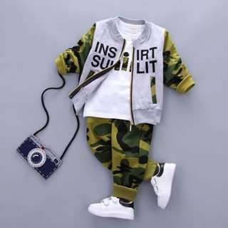 Army Jacket Longsleeves 2 Pcs Boy Set