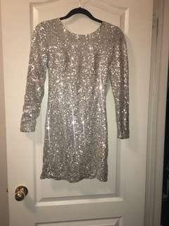 Silver open back long sleeve dress