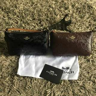 Coach Top Handle Pouch in Signature Debossed Pattern Leather