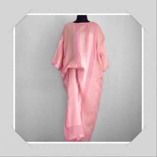 Kaftan cantik lebaran pink